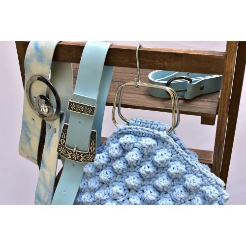 Δερμάτινη χειροποίητη ζώνη baby blue