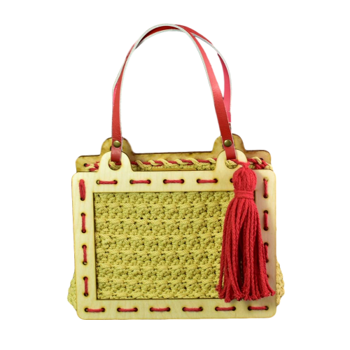 Wood handbag (nature-red)